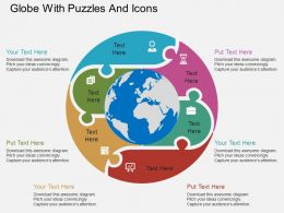 gd Globe With Puzzles And Icons Flat Powerpoint Design