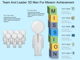 Gd Team And Leader 3d Men For Mission Achievement Powerpoint Template