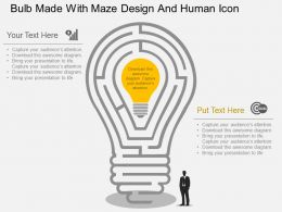 Ge Bulb Made With Maze Design And Human Icon Flat Powerpoint Design