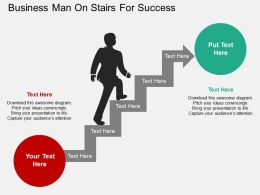 Ge Business Man On Stairs For Success Flat Powerpoint Design