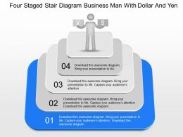 ge Four Staged Stair Diagram Business Man With Dollar And Yen Powerpoint Template