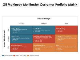 GE Mckinsey Multifactor Customer Portfolio Matrix