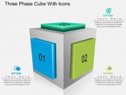 Ge Three Phase Cube With Icons Powerpoint Template