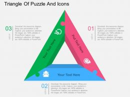 ge Triangle Of Puzzle And Icons Flat Powerpoint Design