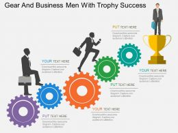 Gear And Business Men With Trophy Success Flat Powerpoint Desgin