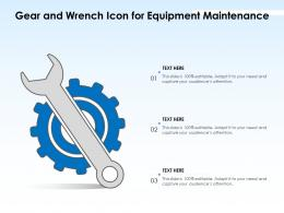 Gear And Wrench Icon For Equipment Maintenance