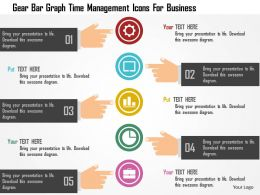 Gear Bar Graph Time Management Icons For Business Flat Powerpoint Design
