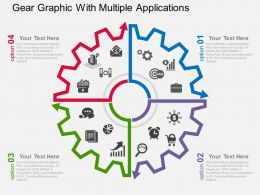 Gear Graphic With Multiple Applications Flat Powerpoint Design