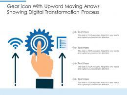 Gear Icon With Upward Moving Arrows Showing Digital Transformation Process