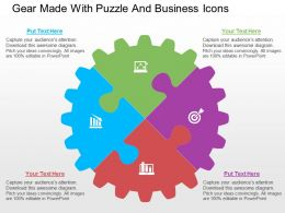 Gear Made With Puzzle And Business Icons Flat Powerpoint Design