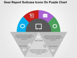 Gear Report Suitcase Icons On Puzzle Chart Flat Powerpoint Design