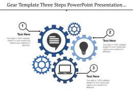 Gear Template Three Steps Powerpoint Presentation Examples