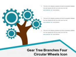 Gear Tree Branches Four Circular Wheels Icon
