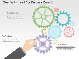 Gear With Hand For Process Control Flat Powerpoint Design