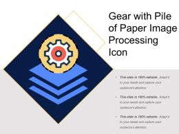Gear With Pile Of Paper Image Processing Icon