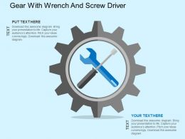 Gear With Wrench And Screw Driver Flat Powerpoint Design