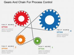 Gears And Chain For Process Control Flat Powerpoint Design