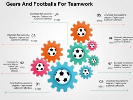 Gears And Footballs For Teamwork Flat Powerpoint Design