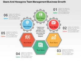 Gears And Hexagons Team Management Business Growth Flat Powerpoint Design