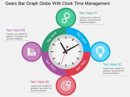 Gears Bar Graph Globe With Clock Time Management Flat Powerpoint Design