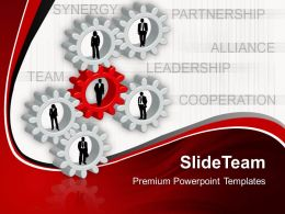 Gears Image Powerpoint Templates Cooperation Leadership Business Ppt Slides