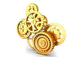 Gears In Working Process Stock Photo