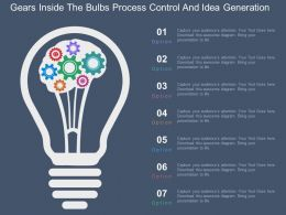 Gears Inside The Bulbs Process Control And Idea Generation Flat Powerpoint Design