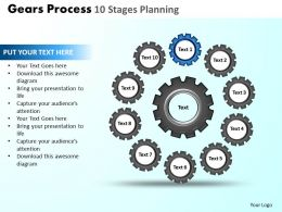 Gears Process 10 Stages Planning Powerpoint Slides And Ppt Templates DB