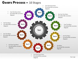Gears Process 10 Stages Powerpoint Slides
