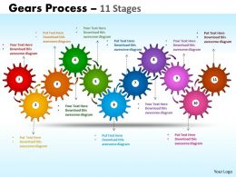 Gears Process 11 Stages Style 1 Powerpoint Slides