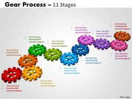 Gears Process 11 Stages Style 2 Powerpoint Slides And Ppt Template