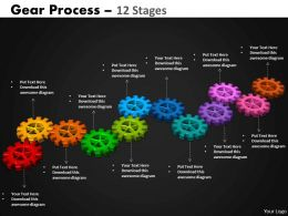 Gears Process 12 Stages Style 2 Powerpoint Slides