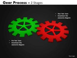 Gears Process 2 Stages Style 2 Powerpoint Slides