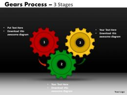 Gears Process 3 Stages Style 1 Powerpoint Slides
