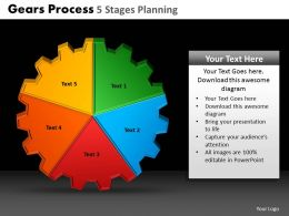 Gears Process 5 Stages Planning Powerpoint Slides And Ppt Templates DB