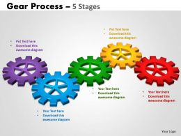 Gears Process 5 Stages Style 2 Powerpoint Slides And Ppt Templates 0412