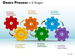 Gears Process 6 Stages Style 1 Powerpoint Slides And Ppt Templates 0412