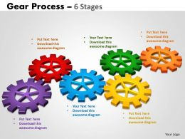 Gears Process 6 Stages Style 2 Powerpoint Slides And Ppt Templates 0412