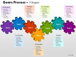 Gears Process 7 Stages Powerpoint Slides