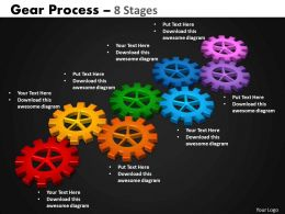 Gears Process 8 Stages Style 2 Powerpoint Slides