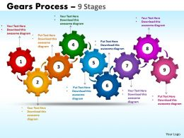 Gears Process 9 Stages Style 1 Powerpoint Slides And Ppt