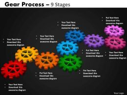 Gears Process 9 Stages Style 2 Powerpoint Slides