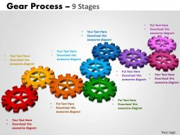 Gears Process 9 Stages Style 2 Powerpoint Slides And Ppt Templates