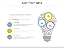 Gears With Bulb Design For Idea Generation Powerpoint Slides