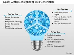 Gears With Bulb Icons For Idea Generation Powerpoint Template