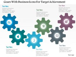 Gears With Business Icons For Target Achievement Flat Powerpoint Design