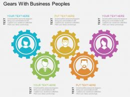 Gears With Business Peoples Flat Powerpoint Desgin