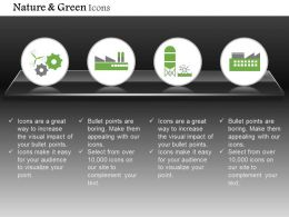 Gears With Factory And Plant For Green Energy Production Editable Icons