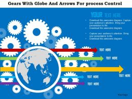 Gears With Globe And Arrows For Process Control Ppt Presentation Slides