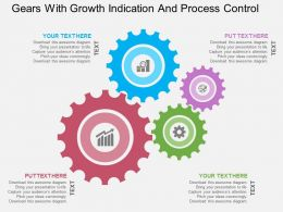 Gears With Growth Indication And Process Control Flat Powerpoint Design